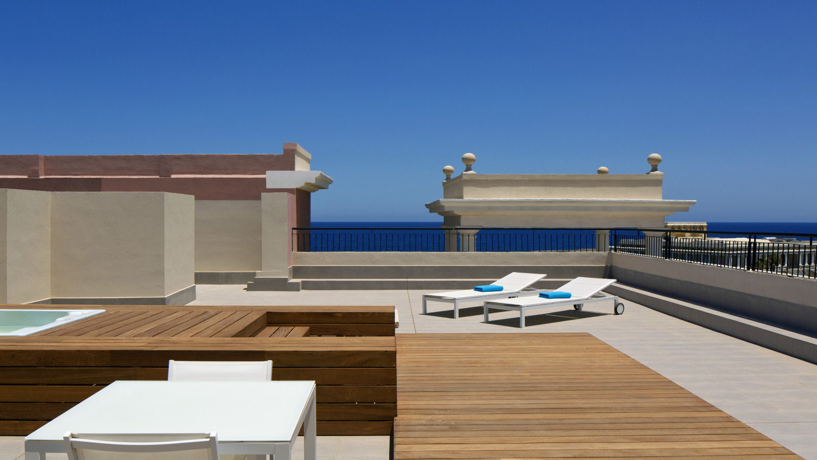 Large private terrace of The Dragonara Suite