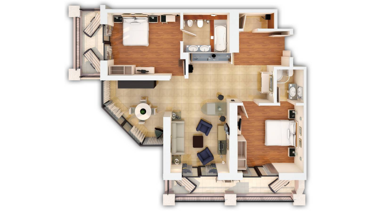 Floor plan of a two bedroom luxury suite
